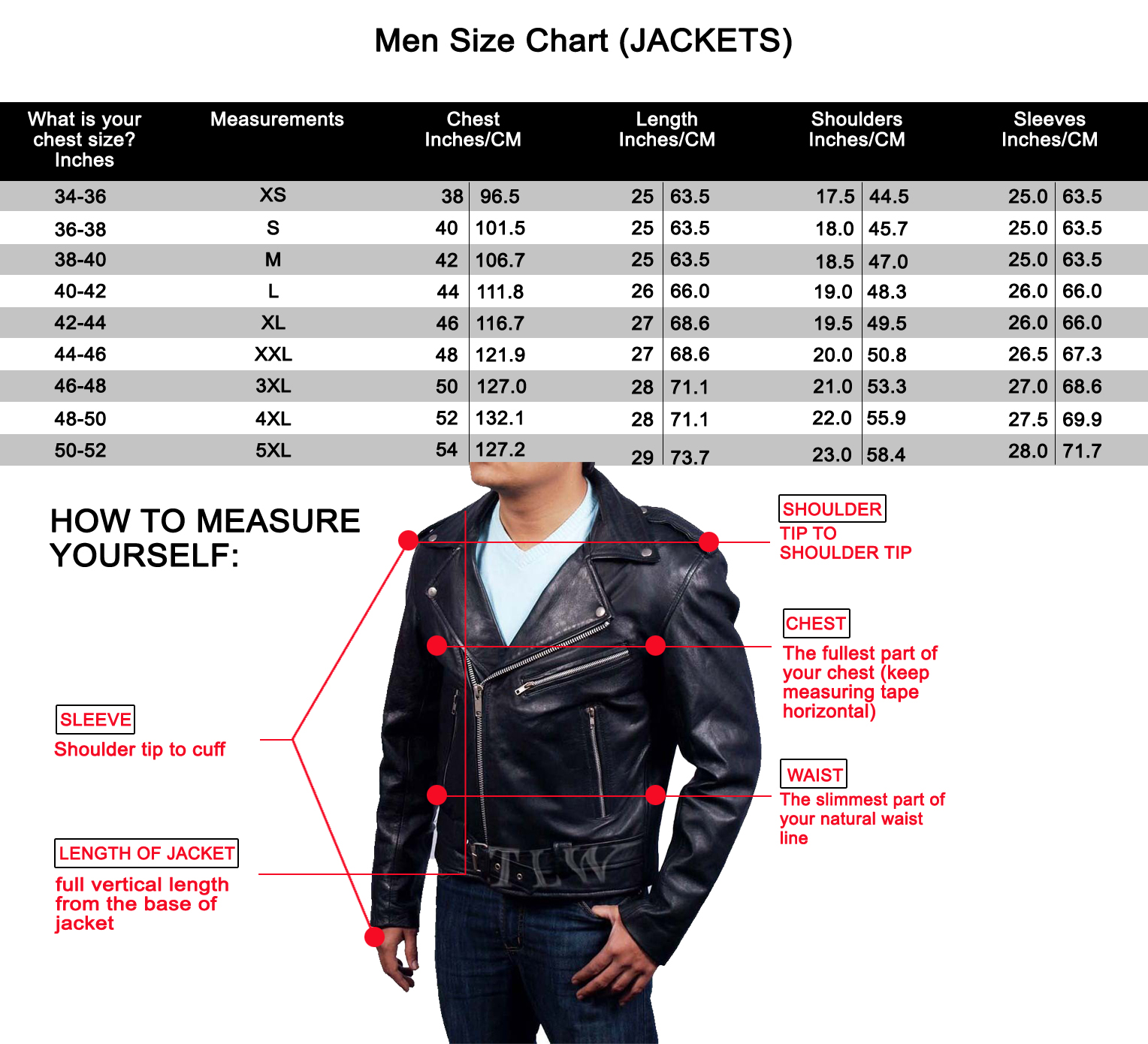 Leather jacket sizes