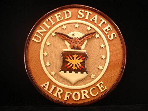 Hand carved wood art air force seal sign wall plaque decor for Decor 6 air force