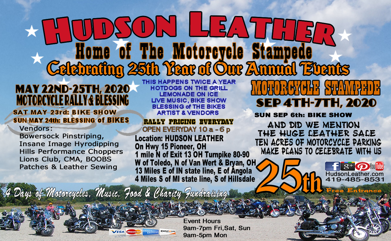 Motorcycle Events September 2020.Events Hudson Leather